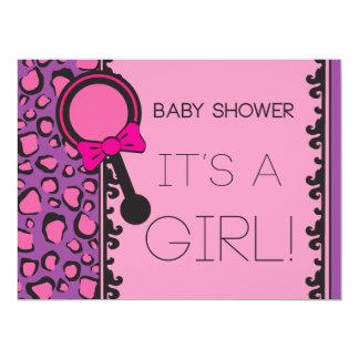 Pink Leopard Baby Shower Invitation