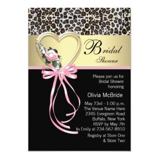 Pink Leopard Black Gold Leopard Bridal Shower Card