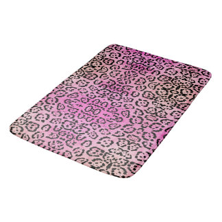 Pink Leopard Cat Animal Oil Paint Effect Bath Mat