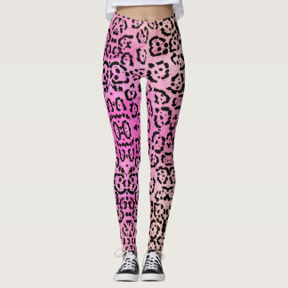 Pink Leopard Cat Animal Oil Paint Effect Leggings