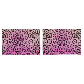 Pink Leopard Cat Animal Oil Paint Effect Pillowcase