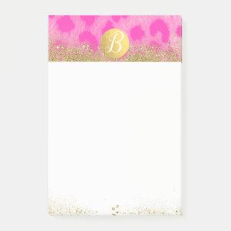 Pink Leopard Cheetah Print Gold Glitter Monogram Post-it Notes