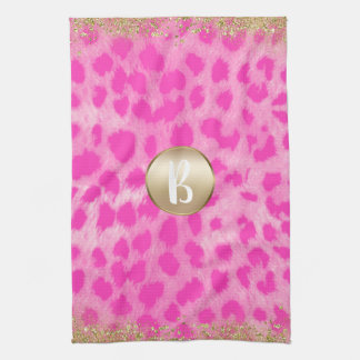 Pink Leopard Cheetah Print Gold Glitter Monogram Tea Towel
