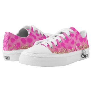 Pink Leopard Cheetah Print Gold Glitter Trendy Low Tops