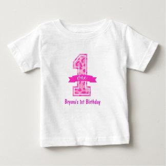 Pink Leopard Cheetah Print ONE 1st Birthday Custom Baby T-Shirt