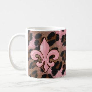 Pink Leopard Fleur de Lis Basic White Mug