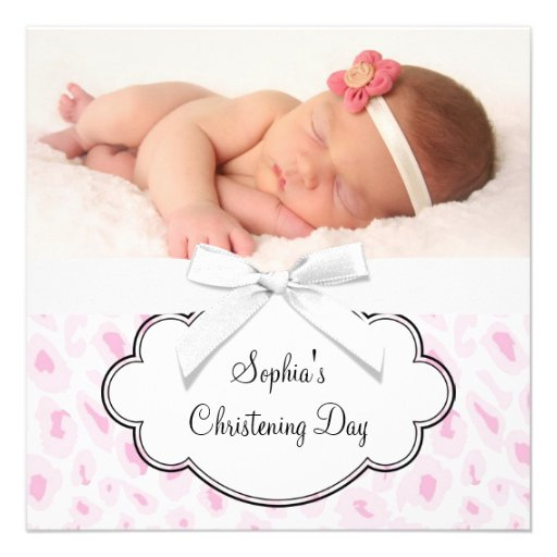 Pink Leopard Girl Photo Christening Personalized Announcements