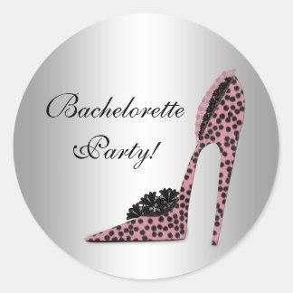 Pink Leopard High Heel Shoe Party Sticker