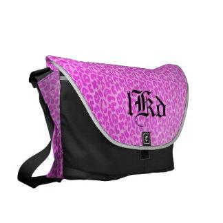Pink Leopard Monogram Courier Bags