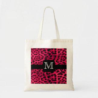 Pink Leopard Monogram Tote Bag