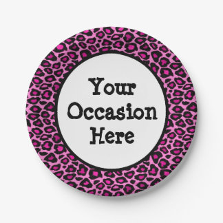 Pink Leopard Party Personalize Paper Plate