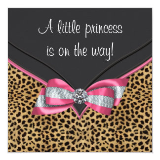 Pink Leopard Princess Baby Shower 13 Cm X 13 Cm Square Invitation Card