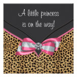 Pink Leopard Princess Baby Shower Personalized Announcements