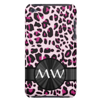 Pink leopard print and monogram barely there iPod case
