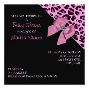 Leopard print baby shower invitations announcements zazzle pink leopard print baby shower invitation filmwisefo