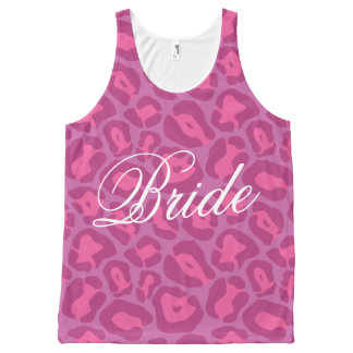 Pink leopard print bride All-Over print tank top