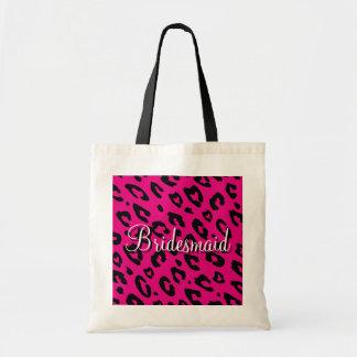 Pink leopard print bridesmaid wedding tote bag