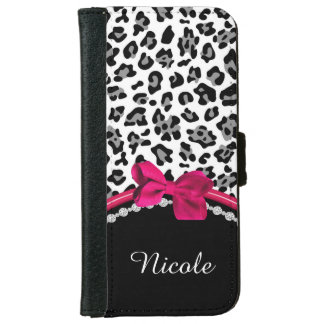 Pink Leopard Print & Diamond Accents Wallet Case