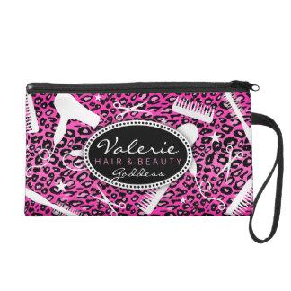 Pink Leopard Print Hair Salon Tools (Custom) Bag Wristlet Purse