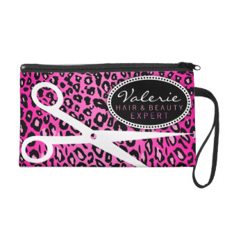 Pink Leopard Print Hair Shears Wristlet Clutches
