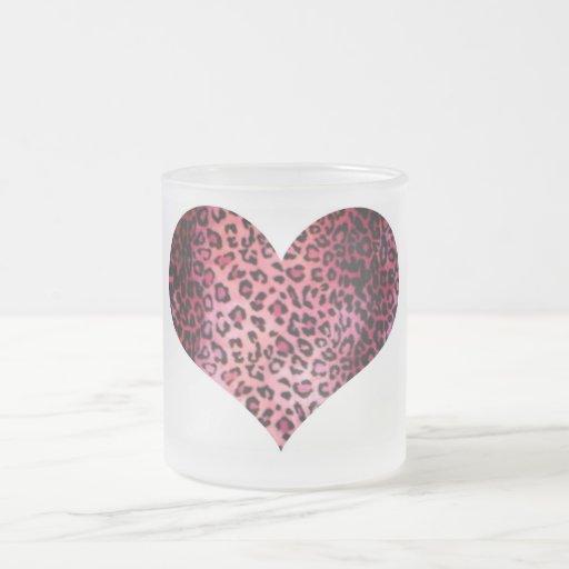 Pink Leopard Print Heart Coffee Mugs
