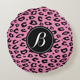 Pink leopard print monogram round throw pillow