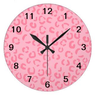 Pink Leopard Print Pattern. Large Clock