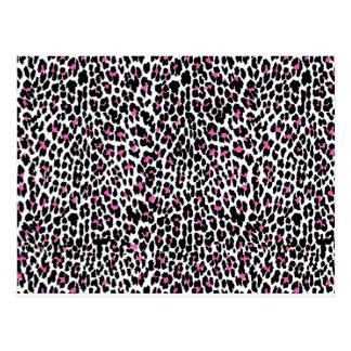 pink leopard print postcard
