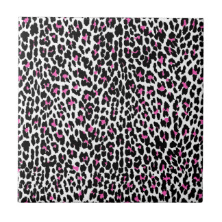 pink leopard print small square tile