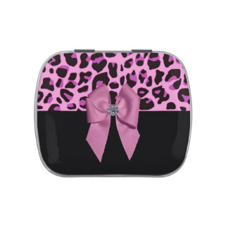 Pink Leopard Print with Bow and Diamond Candy Tin