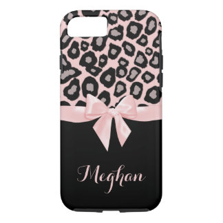 Pink Leopard Spots and Bow iPhone 8/7 Case