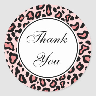 Pink Leopard Thank You Stickers
