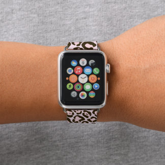 Pink Leopard Wild Cat Animal Print Pattern Apple Watch Band
