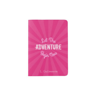 Pink Let the adventure begin Now with Starburst Passport Holder
