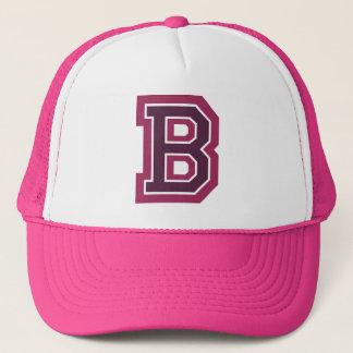 Pink Letter 'B' Monogram Trucker Hat