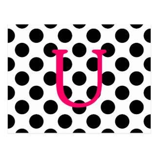 Pink Letter U Postcard