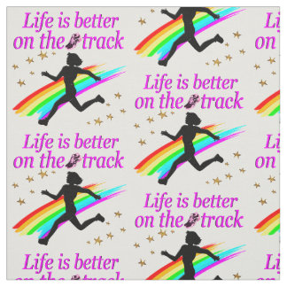 PINK LIFE IS BETTER ON THE TRACK DESIGN FABRIC