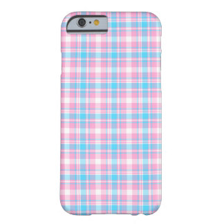 Pink, Light Blue and White Plaid Pattern Barely There iPhone 6 Case