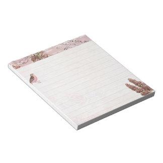 Pink lilac and bird notepad