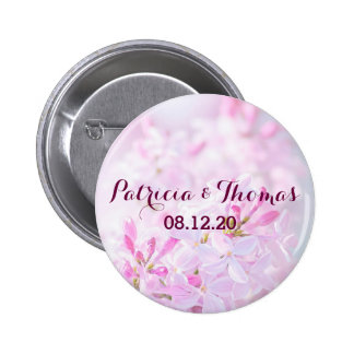 Pink lilac flowers 6 cm round badge
