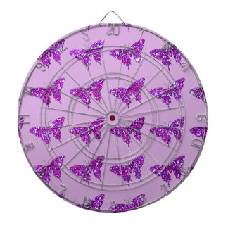 Pink Lilac Sparkle Glitter Butterfly Girly Stuff Dart Boards