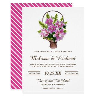 Pink Lilies Flower Basket Wedding Invitation