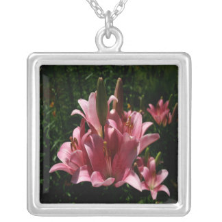 Pink Lilies Silver Plated Necklace