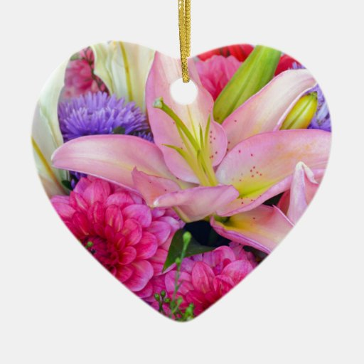 PInk lily and dahlia floral bouquet Christmas Tree Ornament