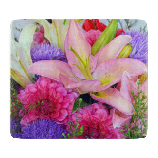 Pink lily and dahlia flower glass cutting board