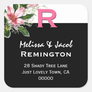 Pink Lily Black White Custom Monogram R Square Sticker
