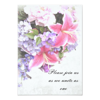Pink Lily Bouquet Invitations