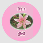 Pink Lily It's a girl! New Baby Stickers
