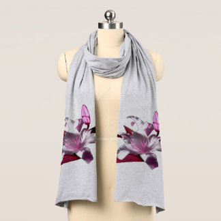 Pink Lily on Grey Scarf