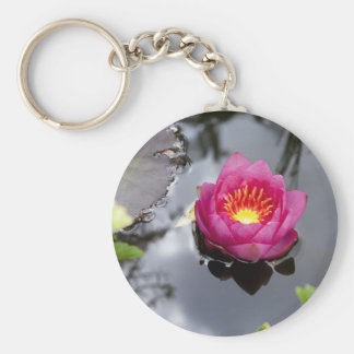 Pink Lily Pad Keychain